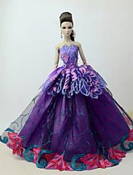 Недорогие -Платья Платье Для Кукла Барби Фиолетовый Тюль / Кружево / Шелково-шерстяная ткань Платье Для Девичий игрушки куклы