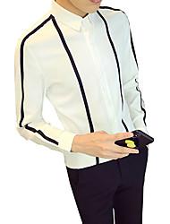 Недорогие -Муж. Рубашка Классический воротник Тонкие Полоски / Контрастных цветов / Длинный рукав