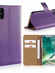 Недорогие -Кейс для Назначение Apple iPhone X / iPhone 8 Pluss / iPhone 8 Кошелек / Бумажник для карт / со стендом Чехол Однотонный Твердый Настоящая кожа