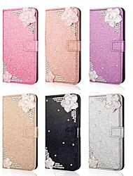 baratos -Capinha Para Samsung Galaxy S9 Plus / S8 Plus Carteira / Porta-Cartão / Com Strass Capa Proteção Completa Glitter Brilhante / Strass / Flor Rígida PU Leather para S9 / S9 Plus / S8 Plus
