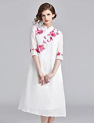 Недорогие -Жен. Винтаж / Шинуазери (китайский стиль) А-силуэт Платье - Цветочный принт, Вышивка Средней длины Бабочка