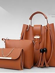 baratos -Mulheres Bolsas PU Conjuntos de saco 3 Pcs Purse Set Côr Sólida Vermelho / Rosa / Khaki