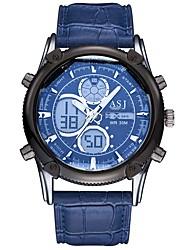 Недорогие -ASJ Муж. Спортивные часы Японский Кварцевый 30 m Защита от влаги Календарь Секундомер Кожа Группа Аналого-цифровые На каждый день Мода Синий / Коричневый - Коричневый Синий / Фосфоресцирующий