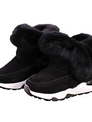 Недорогие -Девочки Обувь Замша Наступила зима Ботильоны Ботинки для Дети Черный / Серый