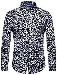 Недорогие -Муж. С принтом Рубашка Винтаж / Классический Леопард
