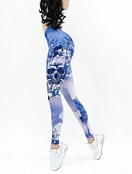 cheap -Women's Elastic Waistband Yoga Pants - Blue Sports Skull Tights Fitness, Workout Activewear Breathable, Butt Lift, Power Flex Stretchy Slim