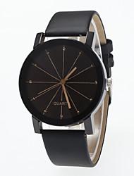 baratos -Homens Mulheres Relógio de Pulso Quartzo Relógio Casual Mostrador Grande PU Banda Analógico Fashion Preta - Preto