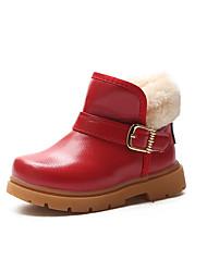 Недорогие -Девочки Обувь Полиуретан Наступила зима Ботильоны Ботинки для Дети Черный / Желтый / Темно-красный