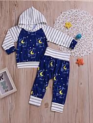 abordables -bébé Garçon Actif / Bohème Soirée / Vacances Galaxie Imprimé Manches Longues Normal Normal Coton Ensemble de Vêtements Bleu / Bébé