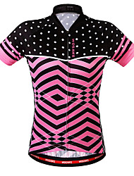 abordables -WOSAWE Femme Manches Courtes Maillot de Cyclisme - Rose Claire Vagues Cyclisme Shirt Maillot Hauts / Top, Respirable Poche arrière Anti-transpiration, Eté, Polyester / Elastique