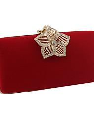 Недорогие -Жен. Мешки Бархат Вечерняя сумочка Сплошной цвет Черный / Красный / Темно-синий