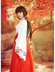 billige -Inspireret af InuYasha Kikyo Anime Cosplay Kostumer Cosplay Kostumer / Kimono Ensfarvet Langærmet Top / Bukser Til Dame