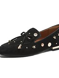 abordables -Femme Chaussures de confort Daim / Peau de mouton Automne Mocassins et Chaussons+D6148 Talon Plat Bout fermé Noir