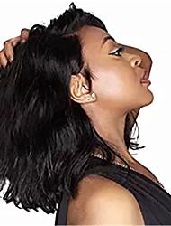 economico -capelli naturali Remy Lace integrale Lace frontale Parrucca Brasiliano Poco ondulata Nero Parrucca Taglio asimmetrico 130% 150% 180% Densità dei capelli con i capelli del bambino Da donna Facile da