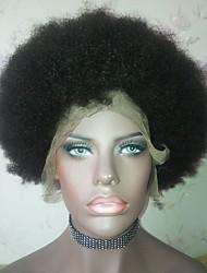 economico -capelli naturali Remy Lace integrale Parrucca Brasiliano Afro Kinky Parrucca Taglio medio corto Taglio scalato Breve Bob 130% Densità dei capelli con i capelli del bambino Attaccatura dei capelli