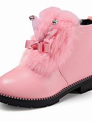 Недорогие -Девочки Обувь Полиуретан Наступила зима Ботильоны Ботинки Для прогулок для Дети Черный / Красный / Розовый