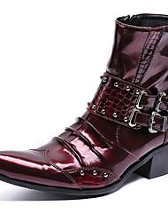 Недорогие -Муж. Fashion Boots Наппа Leather Зима Английский Ботинки Сохраняет тепло Ботинки Черный / Винный / Для вечеринки / ужина
