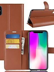 Недорогие -Кейс для Назначение Apple iPhone XS / iPhone XR Кошелек / Бумажник для карт / Флип Чехол Однотонный Твердый Кожа PU для iPhone XS / iPhone XR / iPhone XS Max
