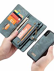 Недорогие -CaseMe Кейс для Назначение Apple iPhone X Кошелек / Бумажник для карт / Флип Чехол Однотонный Твердый Кожа PU для iPhone X / iPhone 8 Pluss / iPhone 8