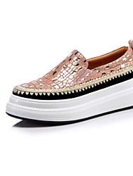 baratos -Mulheres Sapatos Confortáveis Camurça / Pele de Carneiro Verão Tênis Sem Salto Ponta Redonda Amarelo Claro / Rosa claro