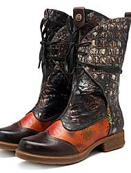 billiga -Dam Fashion Boots Nappaskinn Höst vinter Vintage Stövlar Låg klack Stövletter Brun