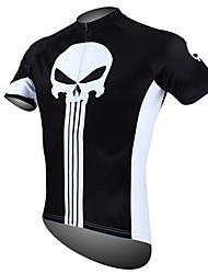 Недорогие -ILPALADINO Муж. С короткими рукавами Велокофты - Черный / Белый Черепа Велоспорт Джерси Верхняя часть, Дышащий Быстровысыхающий Ультрафиолетовая устойчивость 100% полиэстер