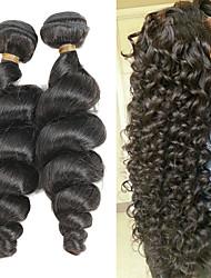 Недорогие -2 Связки Перуанские волосы Свободные волны Remy Накладки из натуральных волос 10-26 дюймовый Ткет человеческих волос Мягкость / Лучшее качество / Новое поступление Расширения человеческих волос Жен.
