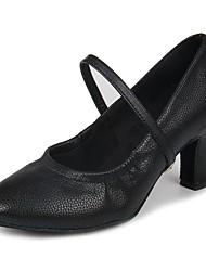 Недорогие -Жен. Обувь для модерна Искусственная кожа На каблуках Пряжки Кубинский каблук Персонализируемая Танцевальная обувь Черный