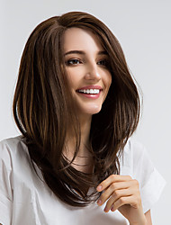 cheap -Synthetic Lace Front Wig Straight Side Part Synthetic Hair 16 inch Natural Hairline Brown Wig Women's Mid Length Lace Front Brown / Yes