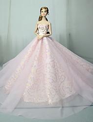 Недорогие -Платья Платье Для Barbiedoll Розовый Тюль / Кружево / Пайетки Платье Для Девичий игрушки куклы