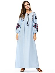 cheap -Women's Basic Shift / Abaya Dress - Floral Lace up / Embroidered