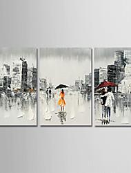 abordables -Peinture à l'huile Hang-peint Peint à la main - Abstrait / Personnage Moderne Toile / Trois Panneaux