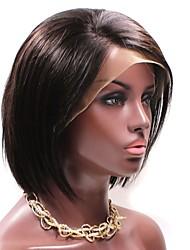 Недорогие -человеческие волосы Remy Лента спереди Парик Бразильские волосы Естественные кудри Парик Стрижка боб Стрижка каскад Средняя часть 130% Плотность волос / Природные волосы / с детскими волосами