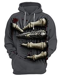 abordables -Homme Grandes Tailles Ample Sports Capuche Manches Longues Exagéré Sweat à capuche - Imprimé, 3D / Crânes