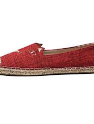 abordables -Femme Chaussures de confort Toile Eté Mocassins et Chaussons+D6148 Talon Plat Bout fermé Noir / Rouge / Amande