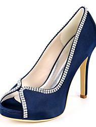 Недорогие -женские туфли с атласной пружиной& летние сладкие / минимализм свадебные туфли на шпильках с открытым носком горный хрусталь темно-фиолетовый / шампанское / слоновая кость / вечеринка& вечер