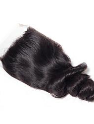 Недорогие -Перуанские волосы 4x4 Закрытие / Бесплатно Part Волнистый Бесплатный Часть Швейцарское кружево Натуральные волосы Жен. Шелковистость / Гладкие / Натуральный Спасибо / спорт / Свидание