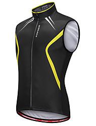 Недорогие -WOSAWE Муж. Без рукавов Жилет для велоспорта - Черный / желтый Велоспорт Жилетка / Джерси, Со светоотражающими полосками, Впитывает пот и влагу Реактивная печать / Эластичная