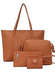 baratos -Mulheres Bolsas PU Conjuntos de saco Conjunto de bolsa de 4 pcs Ziper Côr Sólida Cinzento / Marron / Vinho