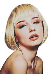 baratos -Perucas de cabelo capless do cabelo humano Cabelo Humano Liso Corte Bob Riscas Naturais Dourado Sem Touca Peruca Mulheres Roupa Diária