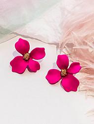 Недорогие -Жен. Ретро Серьги-гвоздики - Цветы европейский, Милая, Мода Розовый / Зеленый / Розовый Назначение Для вечеринок Повседневные