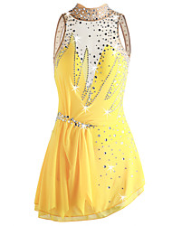 cheap -Figure Skating Dress Women's / Girls' Ice Skating Dress Yellow Spandex Micro-elastic Professional Skating Wear Sequin Sleeveless Figure Skating