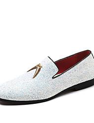 Недорогие -Муж. Официальная обувь Искусственная кожа Наступила зима На каждый день / Шинуазери (китайский стиль) Мокасины и Свитер Водостойкий Белый / Синий / С кисточками / Для вечеринки / ужина / С кисточками