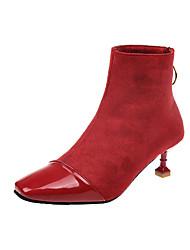 Недорогие -Жен. Fashion Boots Полиуретан Осень На каждый день Ботинки На каблуке-рюмочке Сапоги до середины икры Черный / Красный