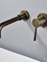 abordables -Robinet lavabo - Séparé Antique Montage mural Mitigeur deux trousBath Taps