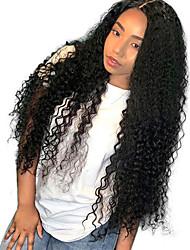 Недорогие -человеческие волосы Remy Лента спереди Парик Бразильские волосы Кудрявый Черный Парик Средняя часть 130% Плотность волос с детскими волосами Средний размер Природные волосы 100% девственница Черный
