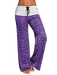 cheap -Women's Basic Wide Leg Pants - Solid Colored Drawstring