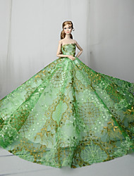 cheap -Dresses Dress For Barbie Doll Arm Green Tulle / Lace / Silk / Cotton Blend Dress For Girl's Doll Toy