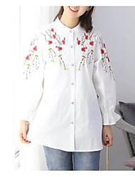 billige -Kvinder går ud skjorte - Blomsterbesætning nakke