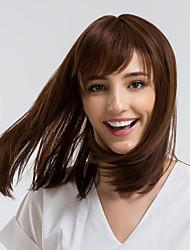 Недорогие -Человеческие волосы без парики Натуральные волосы Прямой Стрижка боб Стиль Природные волосы Коричневый Без шапочки-основы Парик Жен. На каждый день